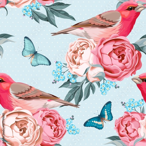 Deurstickers Kunstmatig Birds and flowers seamless