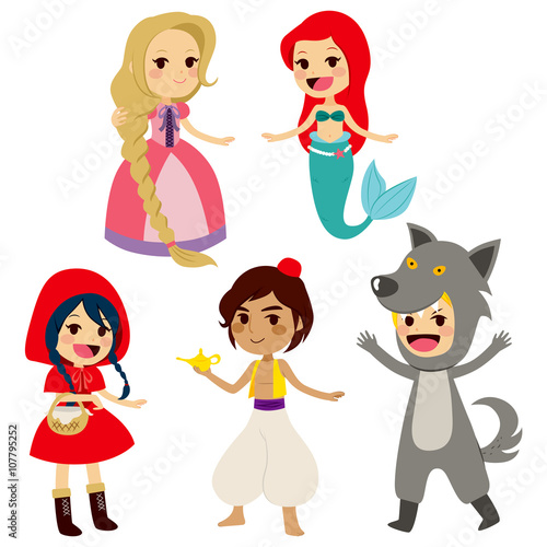 plakat Set of fairy tale characters of popular children books