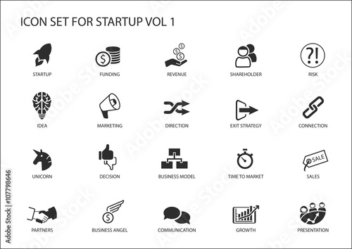 Fototapeta  Business startup icon set