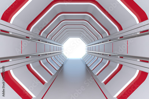 Futuristic tunnel with red lights