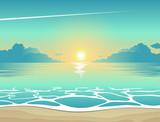 Tło lato, ilustracji wektorowych wieczornej plaży o zachodzie słońca z falami, chmury i samolot lecący na niebie, plakat widok na morze