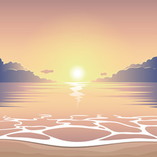 Evening Sea Beach At Sunset With Waves And Clouds, Vector Summer Background, Summer Illustration, Summer Beach