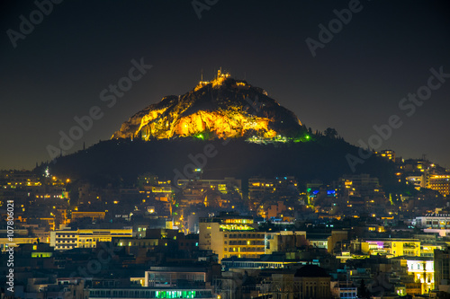 Printed kitchen splashbacks Athens Night aerial view of lycabetus hill and its neighborhood in athens