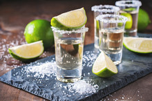 Tequila Gold, Mexican, Alcohol In Shot Glasses, Lime And Salt, Toned Image, Selective Focus