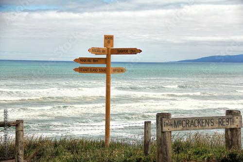 Cadres-photo bureau Cote The signpost at McCraken Rest near to Tuatapere-Orepuki Hwy, Te Waewae, New Zealand