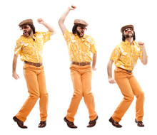 1970s Vintage Man With Orange Dress Dance Composition Set Isolated On White