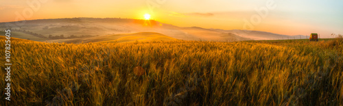 Foto op Plexiglas Cultuur Tuscany wheat field panorama at sunrise