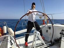 Young Man Sailing Yacht Steering Wheel Vacation Sail