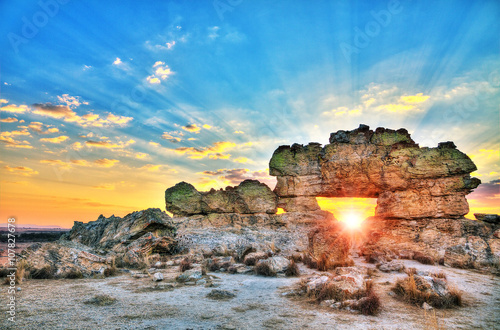 Sunset at the famous rock formation 'La Fenetre' near Isalo, Madagascar Canvas Print