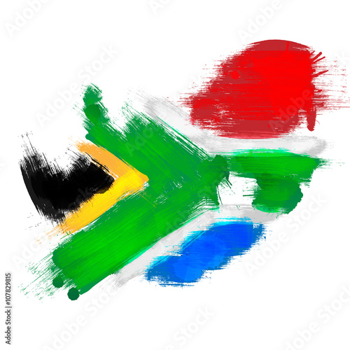 Obraz na plátně Grunge map of South Africa with South African flag