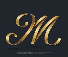 Ribbon Typography Font Logo Type With Glossy Gold Decorative Silk M Letter