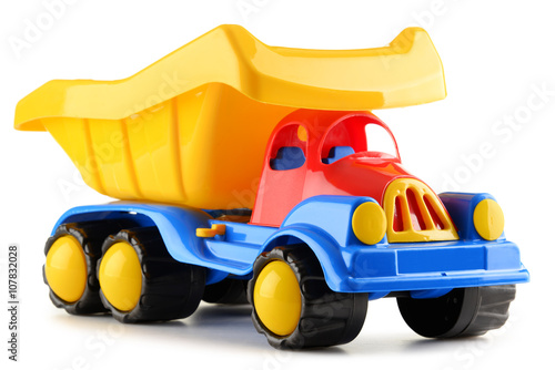 Fotografia Colorful plastic truck toy isolated on white