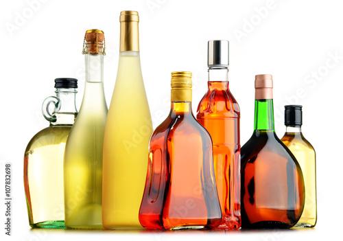 Foto op Plexiglas Bar Bottles of assorted alcoholic beverages