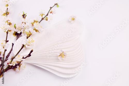 Fotografía  Sanitary pads and apricot blossom