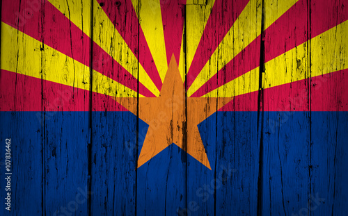 Papiers peints Arizona Arizona Flag Grunge Wooden Background