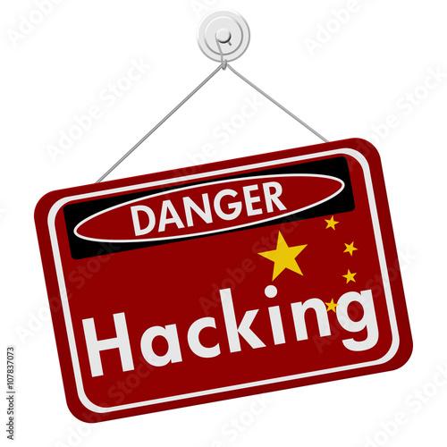 Fotografija  Chinese Hacking Danger Sign