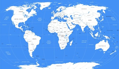 Wektorowa biała mapa świata | Szczegółowa mapa polityczna świata