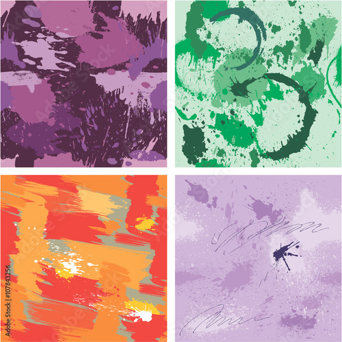 Fototapeten Künstlich Set of seamless pattern with blots and ink splashes. Abstract ba