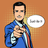 Fototapeta Młodzieżowe - Vector illustration of successful businessman pointing finger in vintage pop art comics retro style. Likes and positive feel. Gesture good, agree and smile.