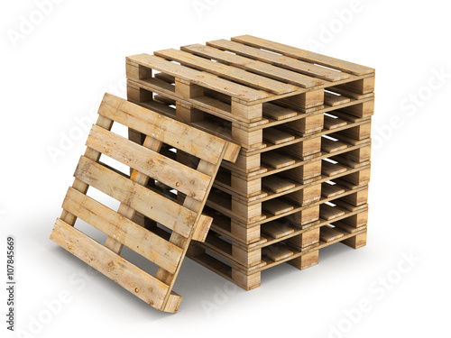 Fotografie, Obraz  Wooden pallet. Isolated on white.3D illustration.