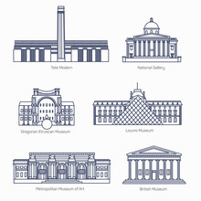 Monuments Thin Line Vector Icons. Tate Modern, National Gallery, Gregorian Etruscan Museum, Louvre, Metropolitan Museum Of Art, British Museum.  Famous World Museums.