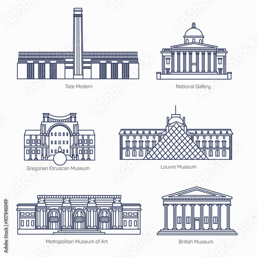 Fotografiet Monuments thin line vector icons