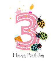 Happy Third Birthday With Ladybird Baby Girl Greeting Card Vector
