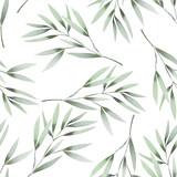 Bezszwowy kwiecisty wzór z akwareli zielenią opuszcza na gałąź, ręka rysująca na białym tle - 107847847