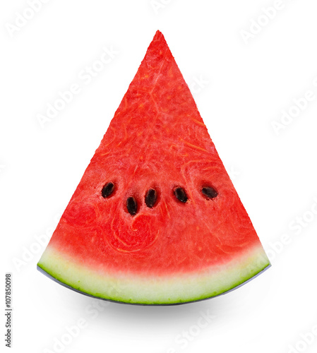 Fresh watermelon slice isolated on white background.