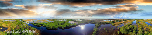 Panoramic aerial view of Everglades, Florida
