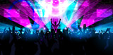 Electronic dance music festival with dancing people.