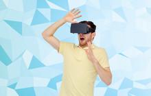Man In Virtual Reality Headset...