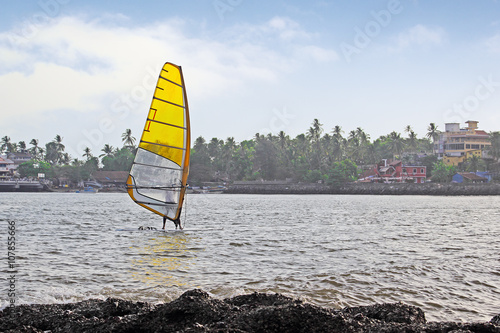 Windsurfer at Dona Paula bay in Goa, India