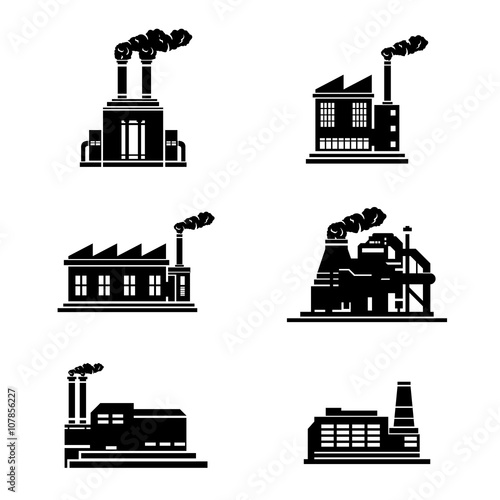 a vector illustration of heavy industry building icons  industrial factories icon set