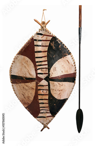 African shield and spear - Buy this stock photo and explore
