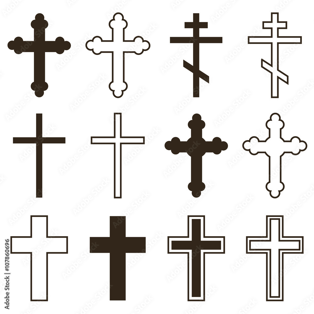 Fototapety, obrazy: Big set of christian orthodoxy crosses in different styles and shapes isolated on white background. Cross as symbol of easter, faith, death and resurrection.