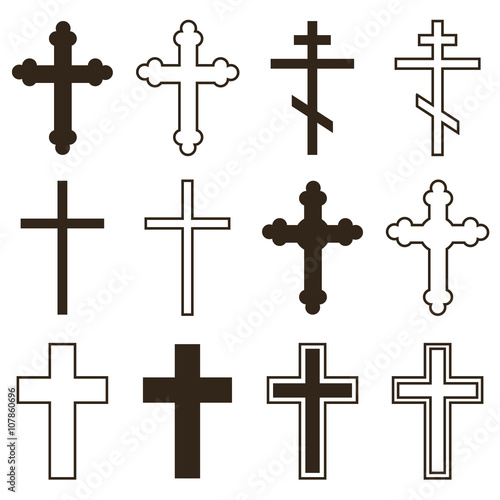 Big set of christian orthodoxy crosses in different styles and shapes isolated on white background Fototapeta