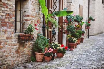 Fototapeta na wymiar beautiful old Italian street with flowres