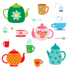 Vector Set Of Teapots And Cups