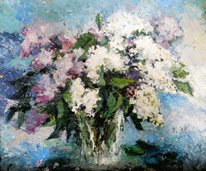 Obraz na Szkle lilac flowers in a vase