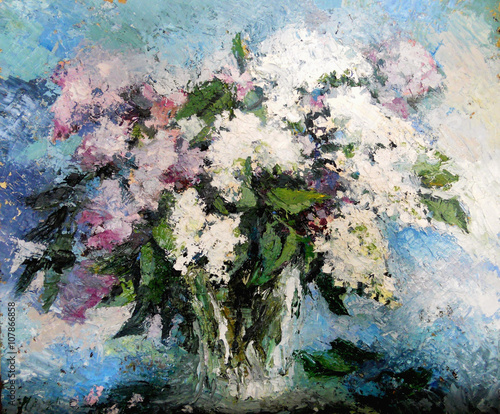 lilac flowers in a vase - 107866858