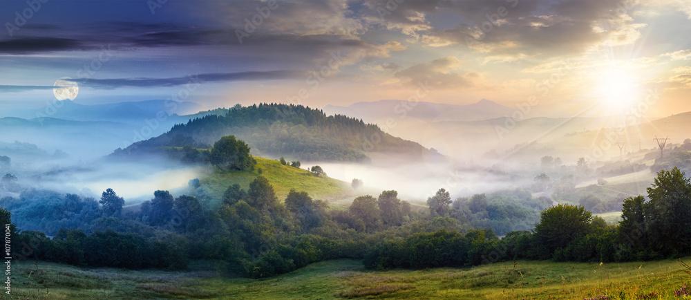 Fototapety, obrazy: mysterious fog on hillside in rural area