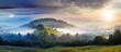 canvas print picture - mysterious fog on hillside in rural area