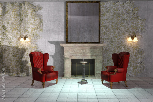 Antique Style Abandoned Creepy Interior With Vintage Wingback Chairs And  Fireplace. 3d Illustration.