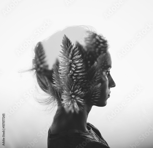 obraz PCV Creative double exposure with portrait of young girl and flowers, monochrome