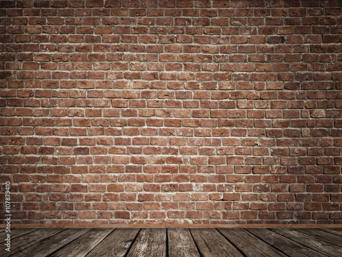 Foto op Plexiglas Wand Old brick wall with old wooden floor.