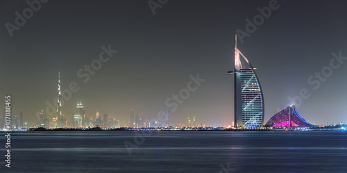 Canvas Print Dubai Panoramic Night View