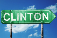 Clinton Road Sign , Worn And D...