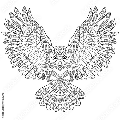 Poster Uilen cartoon Zentangle stylized cartoon eagle owl, isolated on white background. Hand drawn sketch for adult antistress coloring page, T-shirt emblem, logo or tattoo with doodle, zentangle, floral design elements.
