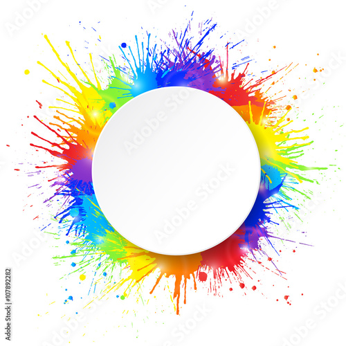 Tuinposter Vormen White round paper banner on colorful paint splashes background. Vector illustration.